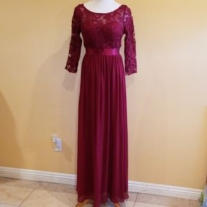 Ever Pretty Dark Red Lace Bodice Formal Gown Sz 10